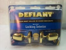 DEFIANT DOOR LOCK BED AND BATH LOCKING INTERIOR BRASS NEW IN BOX