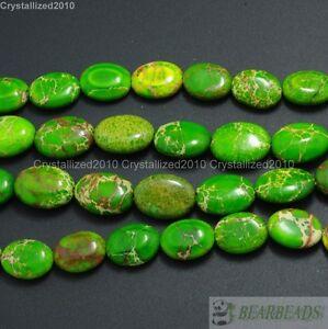 """Natural Green Sea Sediment Jasper Gemstone Oval Beads 12mm 13mm 16mm 18mm 15.5"""""""