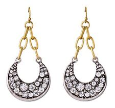 CRESCENT HALF MOON SILVER GOLD RHINESTONE Vtg Designer Dangle Drop Hook Earrings