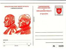 2014 SMOM CARTOLINA POSTALE CANONIZZAZIONE GIOVANNI XXIII E GIOVANNI PAOLO II
