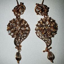 Ladies Indian Earrings Gold With White Stones Dangle Floral Party Bollywood 1124