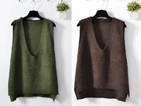 Womens V Neck Pullover Knit Vest Sweater Sleeveless Loose Jumper Waistcoat Top