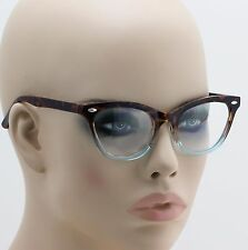 """Ombre"" Tortoise Light Crystal Blue Frame Cat Eye Full Rim Eyeglasses Clear Lens"