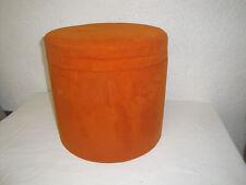 Tabouret moumoute orange Pouf Vintage Années 70 Coffre de rangement