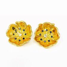 18K Sapphire And Diamond Flower Earrings