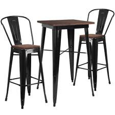 "23.5"" Black Metal Bar Height Restaurant Table Set Walnut Wood Top and 2 Barstool"