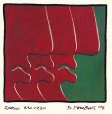 """Dimitris C. Milionis """"GIANTS"""" Signed Study Gouache Painting Paper Greek 1991 g"""