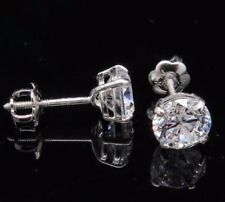 2CT Simuletad Diamond Solid 14K White Gold Round Cut Screw-Back Stud Earrings