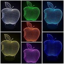 APPLE Desk 3D Light USB Touch Illusion 7 Color Change Night Lamp