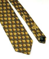 Ermenegildo Zegna Mens 100% Silk Neck Tie Brown Gray Geometric 59.5x3.75 Italy
