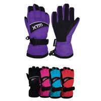 XTM Swoosh Kids Winter Warm Snow Ski Gloves Ass Colours Sizes XS-L