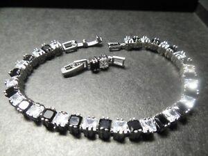 .925 Sterling Silver Black Onyx & Cubic Zircon Gemstone Tennis Bracelet