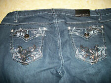 NWT WOMENS BACCINI BOOTCUT JEANS EMBROIDERED SEQUIN CRYSTALS PLUS SIZE 16