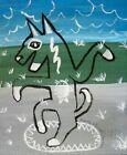 RAIN DANCE Folk Art Print 4 x 6 Dog Collectible Signed Artist KSams