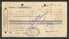 BILL OF EXCHANGE PANACHAND & CO. SINGAPORE AND INDIA REVENUE STAMPS 1951