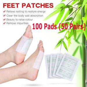 100 Kinoki Detox Foot Patches Pads Body Toxins Feet Slimming Cleansing Herbal UK