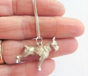 Solid Silver Heavy Dog Pendant - Boxer Type
