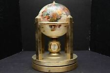 Vtg Pearl & Stone Rotating World Globe Clock semi Precious Gem Brass art deco g