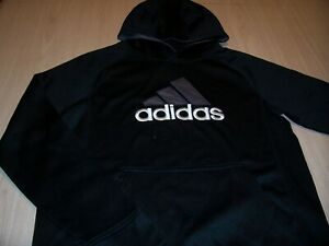 ADIDAS CLIMAWARM LONG SLEEVE BLACK HOODIE BOYS LARGE 14-16 GOOD CONDITION
