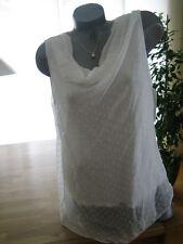 Tunika Bluse Top Shirt weiß doppellagig Punkte Blogger Seide/Viskose Neu Italy