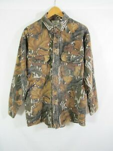 Vintage Mossy Oak Camo Thick Flannel Hunting Shirt L USA Made Chamois