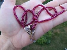 Solid 10K Yellow Gold Tanzanite Pendant w /Natural Ruby 14 Gold Clasp Necklace