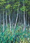 ORIGINAL SIGNED SILVER BIRCH WOODLAND TREES ACRYLIC LANDSCAPE PAINTING