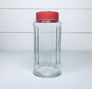 Vintage Nutra Sweet Glass Dispenser Clear Jar Red Lid*