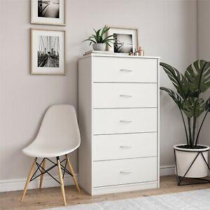 Mainstays Classic 5 Drawer Dresser, White Finish