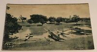 Vtg Postcard Of Church & Fort Negombo, Ceylon By Plate & Co Villager By Boat
