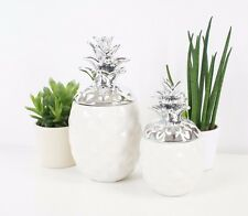 Decorative White and silver Pineapple Designer Ornament set of 2 - 15 and19 cm