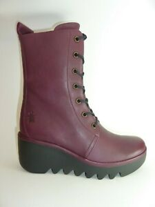 Fly London Bird 241 Wine Leather Womens Inside Zip Lace Up Wedge Ankle Boot