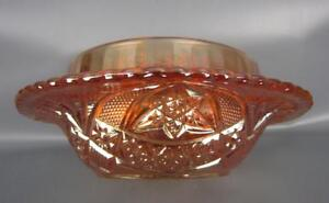 Brockwitz CURVED STAR Marigold Foreign Carnival Glass Butter Dish Bottom  5794