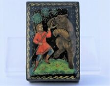 Boîte à bijoux collection décor 6x4 miniature laquée PALEKH peint à main signé