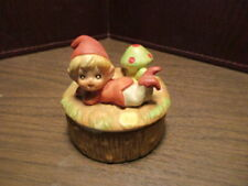 Vintage Porcelain Trinket Box - Elf - Gnome - Pixie on Lid Mushroom - Homco