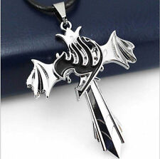 DZ631 Fairy Tail Guild Marks Silver Cross Wing Pendant Necklace Anime Cosplay ^