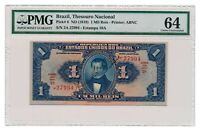 BRAZIL banknote 1 Mil Reis 1919 PMG MS 64 Choice Uncirculated grade