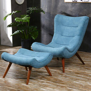 Wingback Armchair Arched High Back Chair Wood Legs Retro Soft Sofa and Footstool