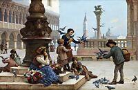 Feeding Pigeons in Venice by Antonio Paoletti. Canvas Life Art. 13x19 Print