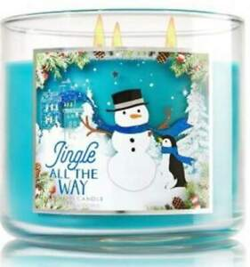 Bath Body Works JINGLE ALL THE WAY 3 Wick 14.5 oz Candle RARE ABERCROMBIE Scent