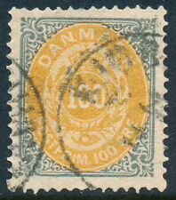 Denmark Scott 34V/Afa 31V, 100ø gray/yellow Bicolour, Vfu, Frame Flaw Rm2A, R!