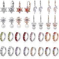 Fashion Geometric Crystal Zircon Ear Stud Earrings Women Crystal Jewelry Gift