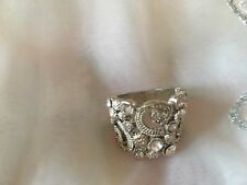 Very Pretty Silver Diamanté Ring Size L On Gauge UK Size 6 US Silver Coloured