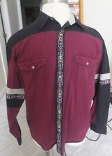 Men's Wrangler Western Shirt Red/Black Aztec Design Stripes LongSleeve  Sz L