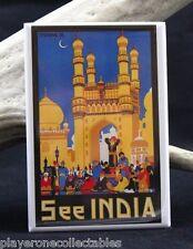 "India Vintage Travel Poster - 2"" X 3"" Fridge / Locker Magnet."