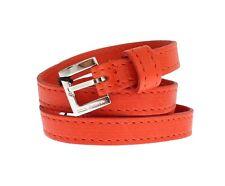 Dolce & Gabbana Orange Leather Silver Buckle Logo Belt S. It42 / 75 Cm