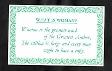 C1970s ALPHA Card 'What is women?' - Woman is the greatest work