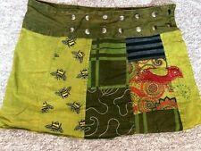 GRINGO Boho Hippy Short POPPER SKIRT Freesize Fit 8 - 16 Psy Wrap GREEN  Skirt
