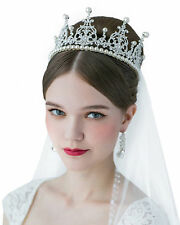 Perfect Bride: Royal Tiaras Pearl Bridal Jewelry Wedding Hair Crown