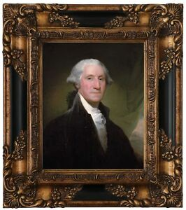 Stuart Portrait of George Washington Wood Framed Canvas Print Repro 8x10